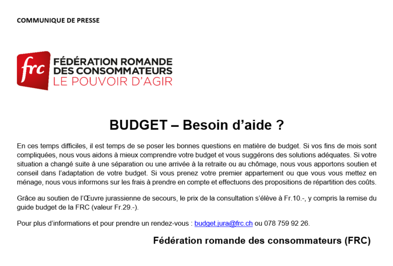 FRC - Budget, besoin d'aide ?