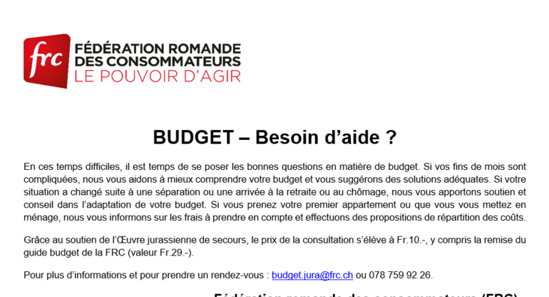 Budget - Besoin d'aide ?